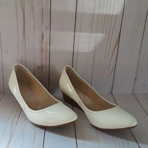 Cole Haan white patent leather wedges SZ 6B